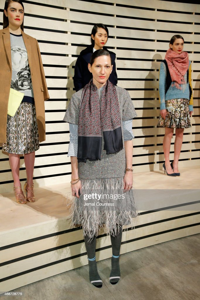 Creative director <a gi-track='captionPersonalityLinkClicked' href=/galleries/search?phrase=Jenna+Lyons&family=editorial&specificpeople=5800179 ng-click='$event.stopPropagation()'>Jenna Lyons</a> poses at J.Crew presentation during Mercedes-Benz Fashion Week Fall 2014 at The Pavilion at Lincoln Center on February 11, 2014 in New York City.