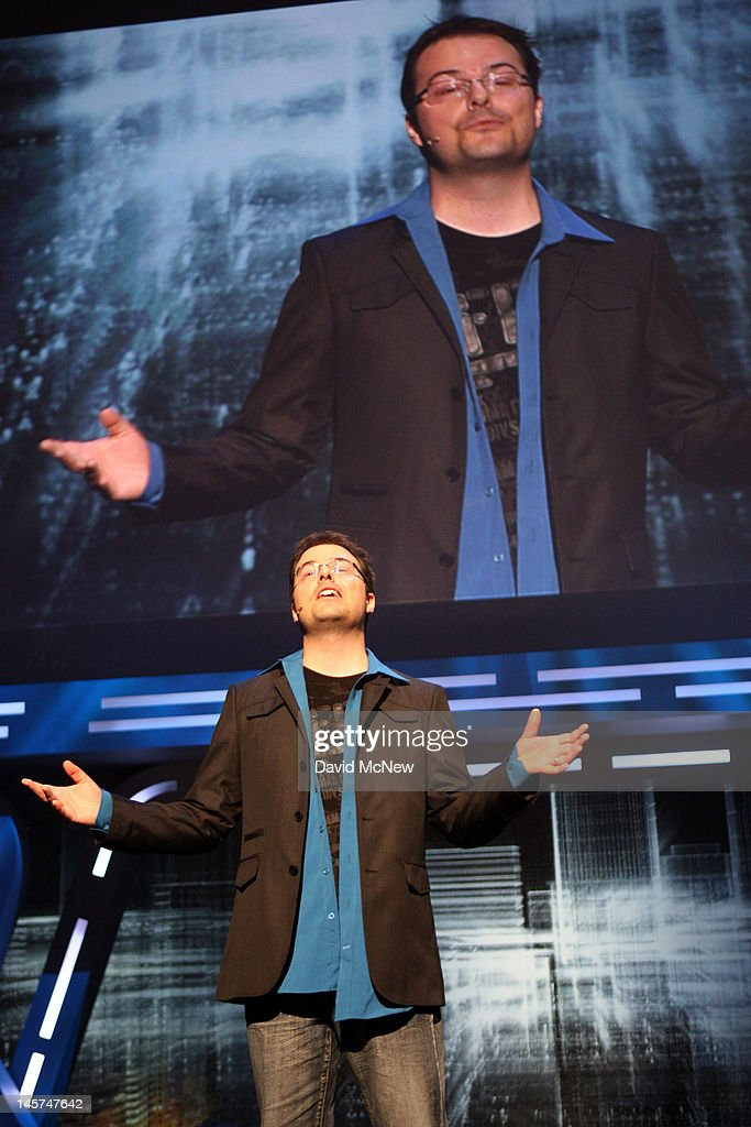 Creative director Jonathan Morin addresses the Ubisoft press conference on the eve of the Electronic Entertainment Expo (E3) on June 4, 2012 in Los Angeles, California. E3 is the most important yearly trade show the $78.5 billion videogame industry.