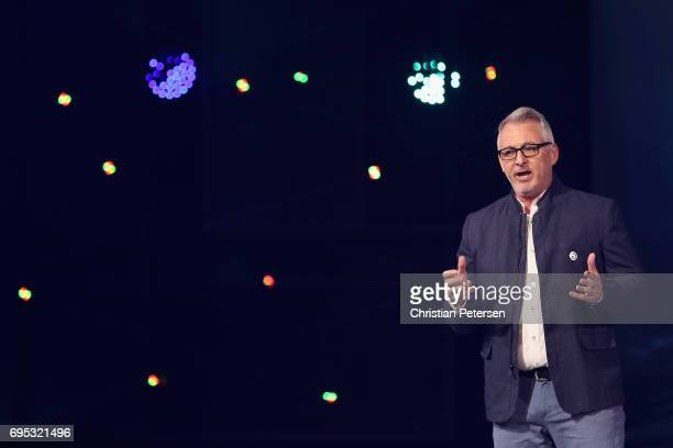 Creative Director Justin Farren introduces 'Skull Bones' during the Ubisoft E3 conference at the Orpheum Theater on June 12 2017 in Los Angeles...