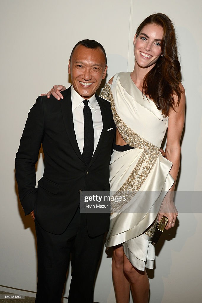 Creative director of Elle magazine Joe Zee and model Hilary Rhoda attend the Estee Lauder 'Modern Muse' Fragrance Launch Party at the Guggenheim Museum on September 12, 2013 in New York City.