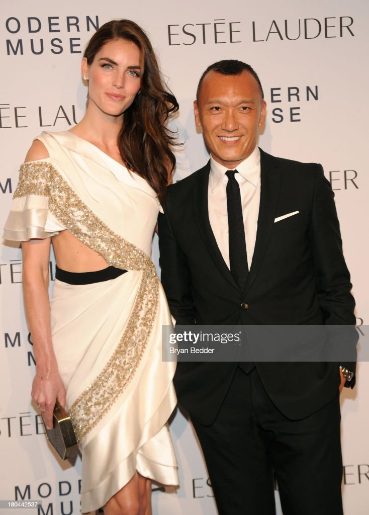 Creative director of Elle magazine Joe Zee (R) and model Hilary Rhoda attend the Estee Lauder 'Modern Muse' Fragrance Launch Party at the Guggenheim Museum on September 12, 2013 in New York City.