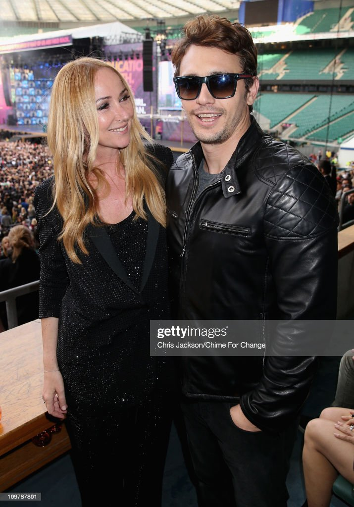 Creative Director of Gucci Frida Giannini and actor James Franco pose inside the Royal Box at the 'Chime For Change: The Sound Of Change Live' Concert at Twickenham Stadium on June 1, 2013 in London, England. Chime For Change is a global campaign for girls' and women's empowerment founded by Gucci with a founding committee comprised of Gucci Creative Director Frida Giannini, Salma Hayek Pinault and Beyonce Knowles-Carter.