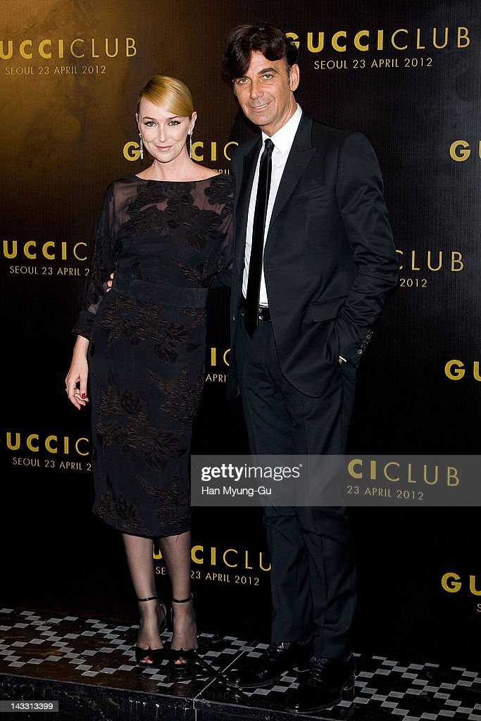 Creative Director of Gucci <a gi-track='captionPersonalityLinkClicked' href=/galleries/search?phrase=Frida+Giannini&family=editorial&specificpeople=559380 ng-click='$event.stopPropagation()'>Frida Giannini</a> and Gucci CEO Patrizio di Marco attend the Reopening of Gucci's Seoul Flagship Store on April 23, 2012 in Seoul, South Korea.