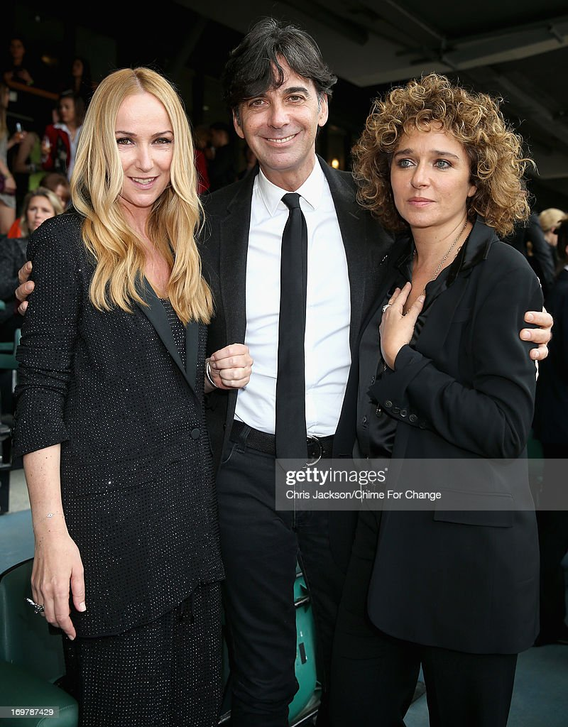 Creative Director of Gucci Frida Giannini, CEO of Gucci Patrizio di Marco and Valeria Golino pose inside the Royal Box at the 'Chime For Change: The Sound Of Change Live' Concert at Twickenham Stadium on June 1, 2013 in London, England. Chime For Change is a global campaign for girls' and women's empowerment founded by Gucci with a founding committee comprised of Gucci Creative Director Frida Giannini, Salma Hayek Pinault and Beyonce Knowles-Carter.