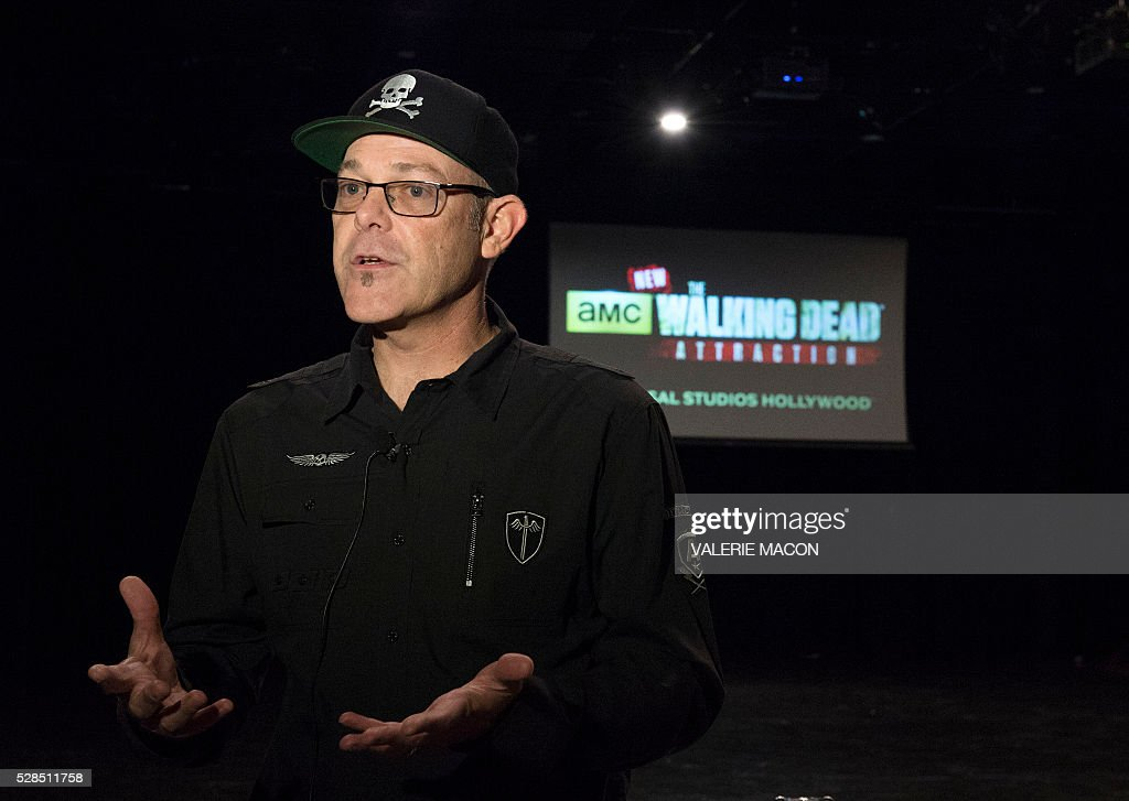 Creative Director of Halloween Horror Nights, Universal Parks and Resorts John Murdy speaks before, The Walking Dead Casting Call Auditions, for the future Walking Dead attraction at Universal Studios Hollywood, in Universal City, California, on May 5 2016. / AFP / VALERIE