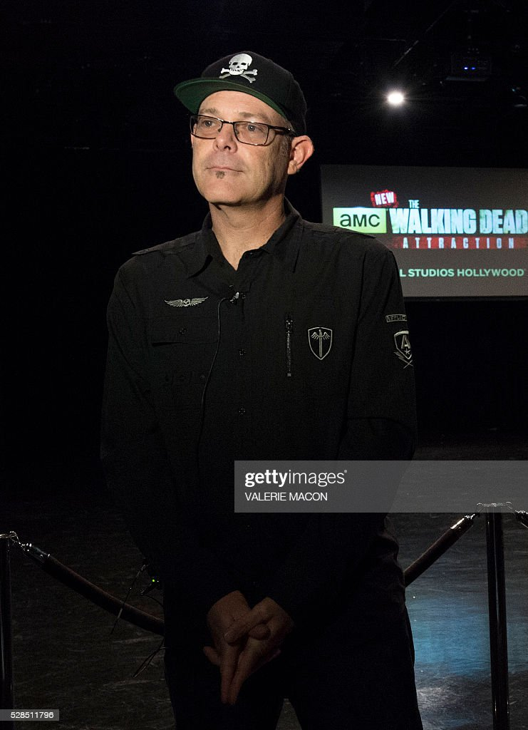 Creative Director of Halloween Horror Nights, Universal Parks and Resorts John Murdy poses for photos before, The Walking Dead Casting Call Auditions, for the future Walking Dead attraction at Universal Studios Hollywood, in Universal City, California, on May 5 2016. / AFP / VALERIE