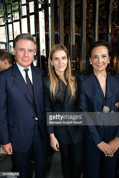 Creative director of the Italian jewellery brand Repossi Gaia Repossi standing between her parents Alberto Repossi and Angela Repossi attend the...