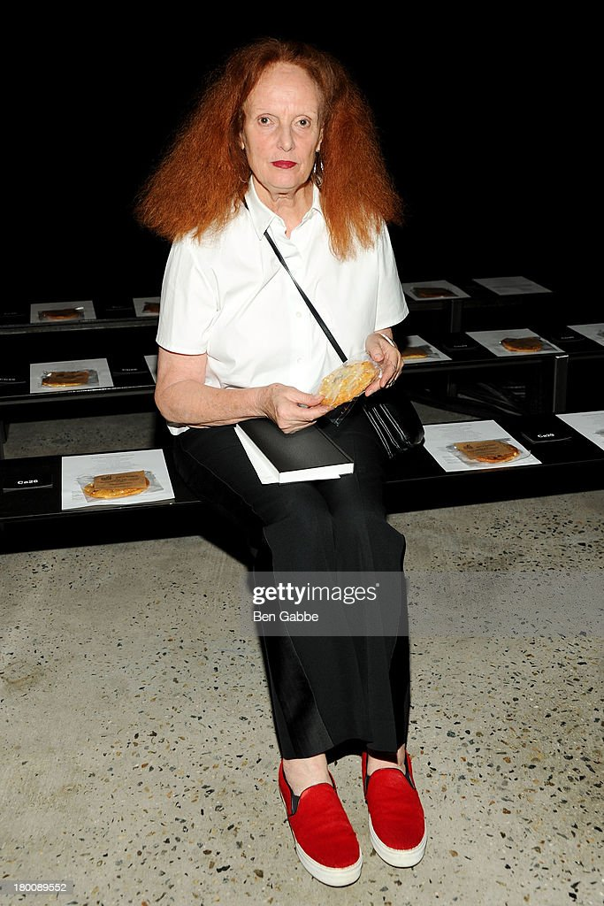 Creative director of Vogue <a gi-track='captionPersonalityLinkClicked' href=/galleries/search?phrase=Grace+Coddington&family=editorial&specificpeople=1706831 ng-click='$event.stopPropagation()'>Grace Coddington</a> attends Band Of Outsiders Women's during Mercedes-Benz Fashion Week Spring 2014 on September 8, 2013 in New York City.