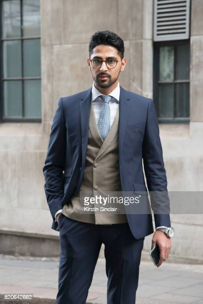 Creative director Saad Wadia wears Zara glasses and a Saran Kohli suit waistcoat shirt and tie on day 1 of London Collections Men on June 9 2017 in...