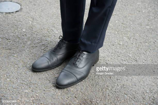 Creative director Saad Wadia wears Zara shoes and a Saran Kohli suit on day 1 of London Collections Men on June 9 2017 in Paris France