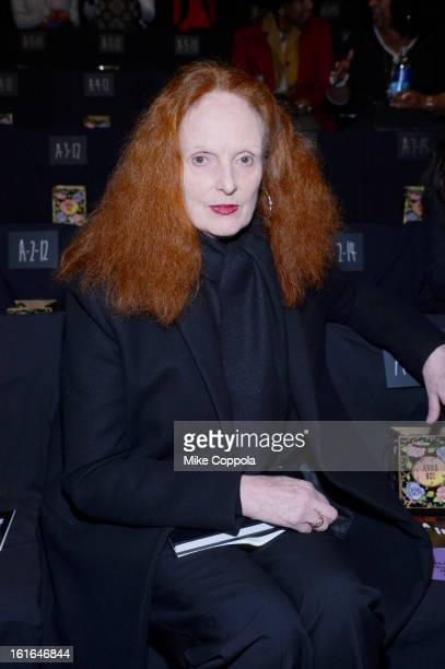 Creative director US Vogue Grace Coddington attends the Anna Sui Fall 2013 fashion show during MercedesBenz Fashion Week at The Theatre at Lincoln...