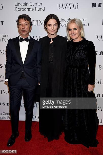 Creative Directors Maria Grazia Chiuri and Pierpaolo Piccioli poses with Keira Knightley during an evening honoring Valentino at Lincoln Center...