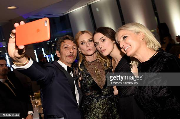 Creative Directors Maria Grazia Chiuri and Pierpaolo Piccioli poses with Actresses Diane Kruger and Keira Knightley during an evening honoring...