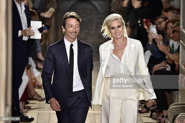 Creative Directors Pier Paolo Piccioli and Maria Grazia Chiuri acknowledge the audience during the Valentino Haute Couture Fall/Winter 20162017 show...