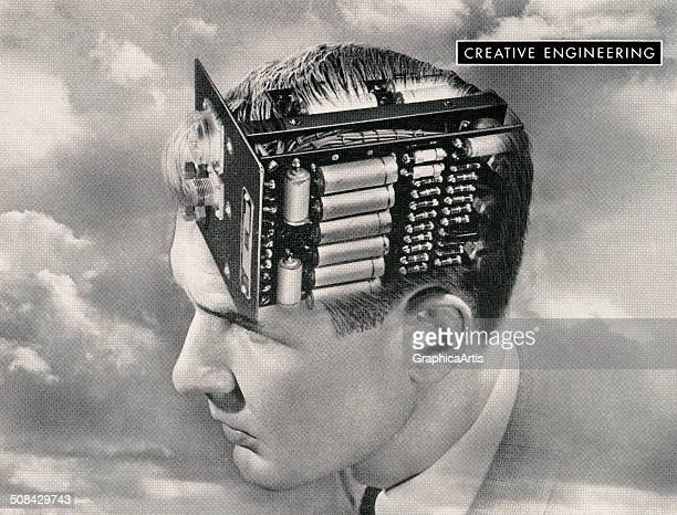Creative engineering vintage illustration of the head of a man with an electronic circuit board for a brain 1949 Screen print