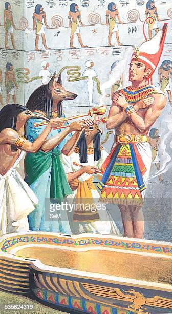 Creative illustration Ancient Egyptian civilization Pharaoh received by the deceased in the afterlife Ancient Egypt was a civilization of ancient...