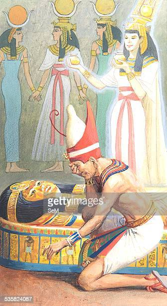 Creative illustration Ancient Egyptian civilization The funeral of the pharaoh in the tomb of the pyramid with the sarcophagus Ancient Egypt was a...