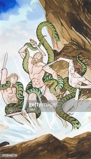 Creative illustration Magic Laocoon was subsequently subject to divine execution by two serpents sent to Troy across the sea from the island of...