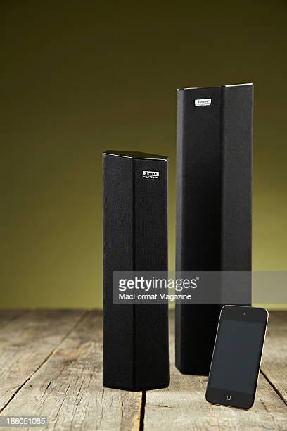 Creative Labs Sound blaster Axx SBX 8 and SBX 10 speaker towers and an Apple iPod Touch photographed during a studio shoot for MacFormat Magazine...