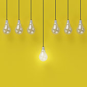 Idea concept : Creative light bulb Idea concept on yellow background, flat lay , minimal concept