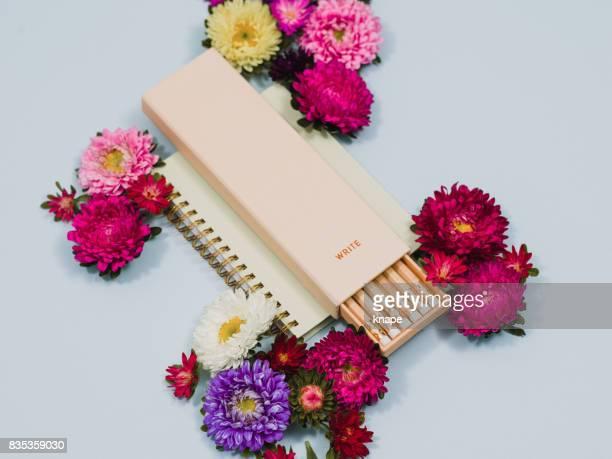 Creative pencil and flower arrangement stationary