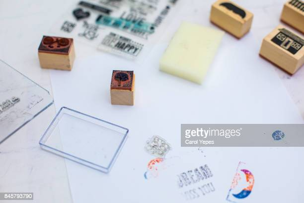 creative scrapbooking items in white table