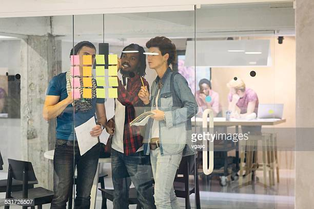 Creative Team looking at sticky notes and writing.