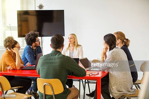 Creative team of professional having a meeting