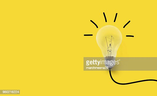 Creative thinking ideas brain innovation concept. Light bulb on yellow background : Stock Photo