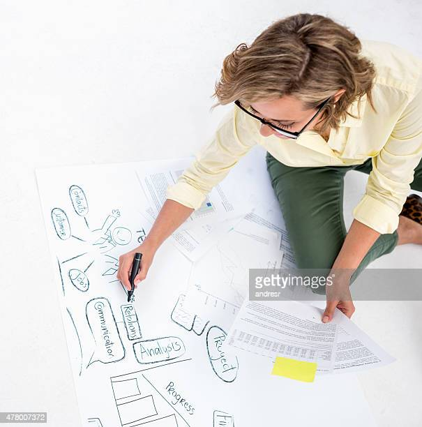 Creative woman drawing a business plan