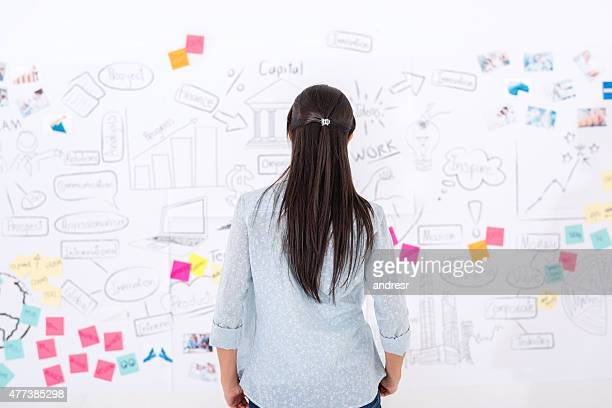 Creative woman looking at a wall chart