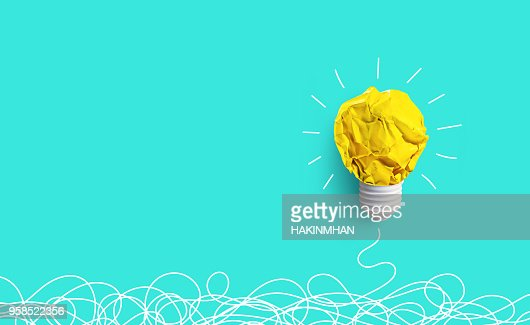 Creativity inspiration,ideas concepts with lightbulb from paper crumpled ball : Foto de stock