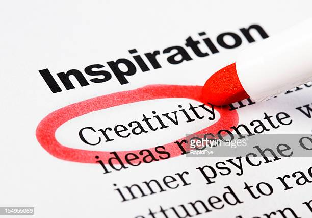 """Creativity is highlighted in red on document headed """"Inspiration"""""""