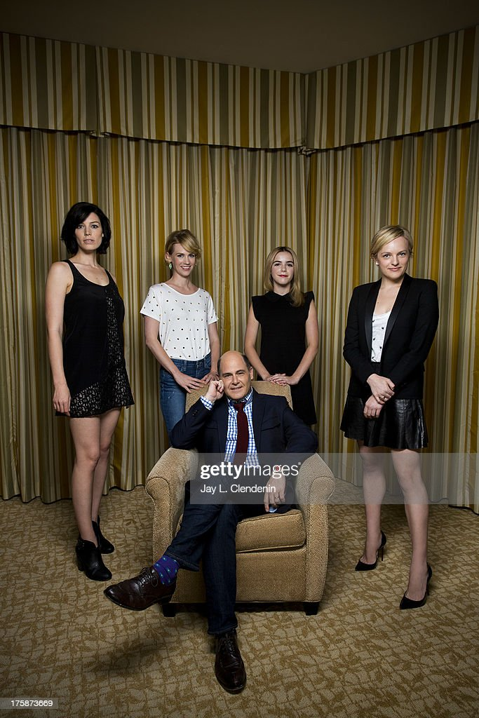 Creator and actresses of AMC's Mad Men Elisabeth Moss, January Jones, Jessica Pare, Matthew Weiner, Kiernan Shipka are photographed for Los Angeles Times on June 12, 2013 in Beverly Hills, California. PUBLISHED IMAGE.