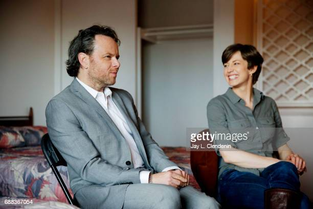 Creator and writer Noah Hawley and Carrie Coon are photographed on the set of FX's 'Fargo' for Los Angeles Times on February 16 2017 in Los Angeles...
