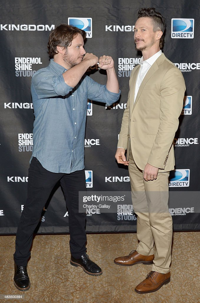 Creator Byron Balasco and actor Jonathan Tucker attend the DIRECTV's presentation of KINGDOM at the 2015 Summer TCA Press Tour at The Beverly Hilton...