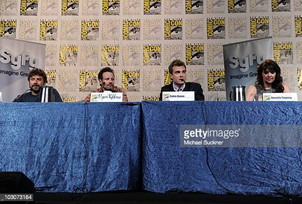 Creator Damian Kindler actors Ryan Robbins Robin Dunne and Amanda Tapping attend 'Sanctuary' Panel and Press Conference at Hilton San Diego Bayfront...