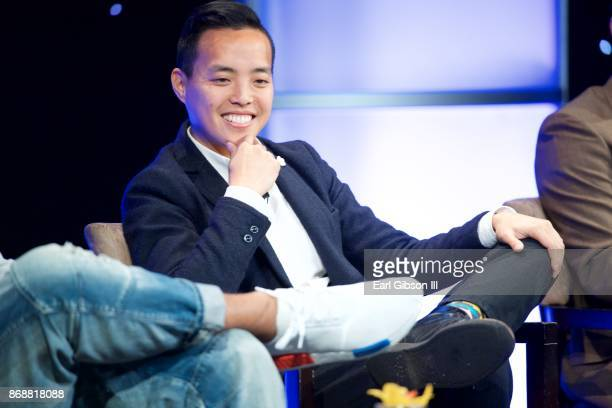 Creator Executive Producer Alan Yang speaks onstage at the HRTS Hosts Annual Hitmakes Luncheon at The Beverly Hilton Hotel on October 31 2017 in...