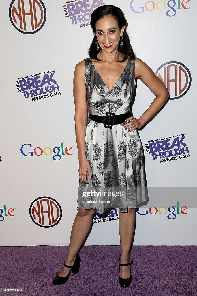 Creator / executive producer Lizzy Weiss of 'Switched at Birth' arrives at the National Association Of The Deaf's 1st annual Breakthrough Awards at Hollywood Roosevelt Hotel on March 13, 2014 in Hollywood, California.