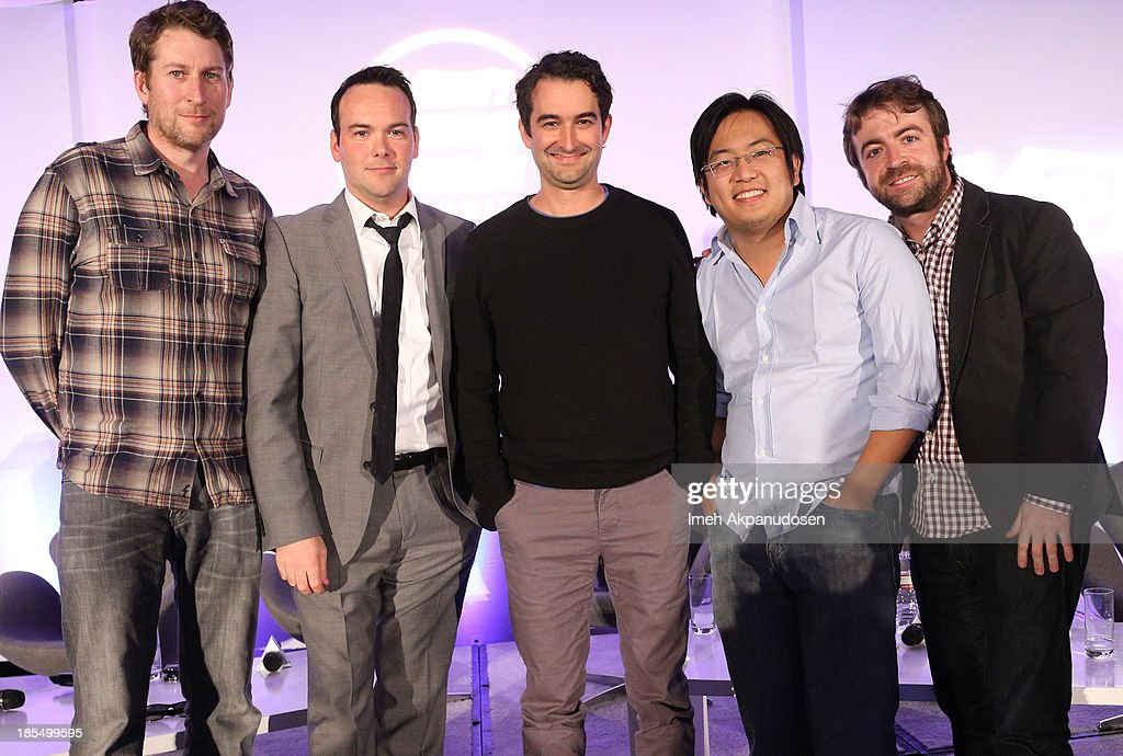 Creator & Executive Producer Scott Aukerman, Producer <a gi-track='captionPersonalityLinkClicked' href=/galleries/search?phrase=Dana+Brunetti&family=editorial&specificpeople=566513 ng-click='$event.stopPropagation()'>Dana Brunetti</a>, Writer, Director, Actor & Producer Jay Duplass, Creator & Executive Producer Derek Waters, and Creator of FreddieW Freddie Wong onstage during the 'Hollywood Breakthrough Ellite' Panel at the Variety Entertainment and Technology Summit at Ritz Carlton Hotel on October 21, 2013 in Marina del Rey, California.