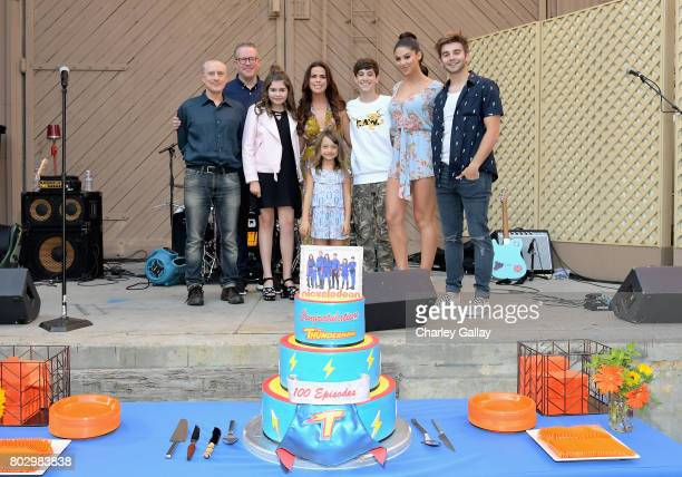 Creator Jed Spingarn actors Chris Tallman Addison Riecke Rosa Blasi Maya Le Clark Diego Velazquez Kira Kosarin and Jack Griffo celebrate the 100th...