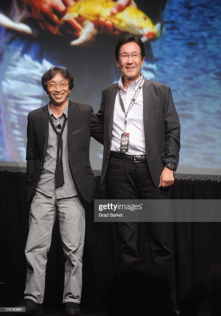 Creator of G-Shock Kikuo Ibe (L) and creator of G-Shock Yuichi Masuda speak on stage at G-Shock Shock The World 2013 at Basketball City on August 7, 2013 in New York City.