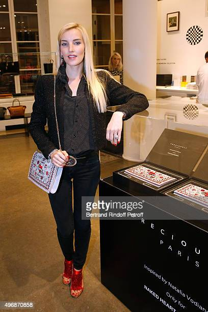 Creator of 'Preciously Paris' Carole Tessier attends the 'Preciously Paris Bag' created to benefit Naked Heart Foundation Launch Cocktail at Colette...