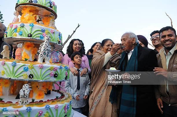 Creator of Rock Garden Padma Shri Nek Chand Saini celebrating his 90th birthday with the members of England women Kabaddi Team and family members at...