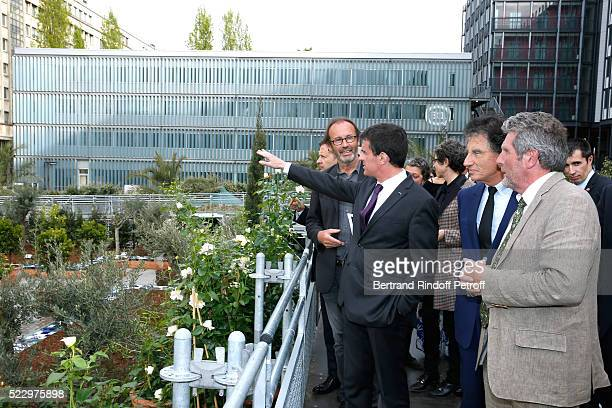 Creator of the 'Anamorphose' Anamorphosis Francois Abelanet French Prime Minister Manuel Valls President of the 'Institut du Monde Arabe' Jack Lang...