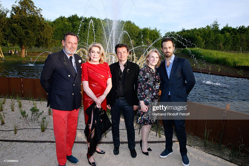 Creator of the 'Bosquet du Theatre d'eau', Louis Benech, Actress <a gi-track='captionPersonalityLinkClicked' href=/galleries/search?phrase=Catherine+Deneuve&family=editorial&specificpeople=123833 ng-click='$event.stopPropagation()'>Catherine Deneuve</a>, President of the Versailles Castle, Catherine Pegard, Contemporary Artist and Sculptor of fountains of the 'Bosquet du Theatre d'eau', Jean-Michel Othoniel and Paris National Opera dance director, Founding Director of 'L.A. Dance Project' and Creator of the Ballet presented exclusively by the 'L.A. Dance Project' during the evening 'O'de', <a gi-track='captionPersonalityLinkClicked' href=/galleries/search?phrase=Benjamin+Millepied&family=editorial&specificpeople=6539957 ng-click='$event.stopPropagation()'>Benjamin Millepied</a> attend the Inauguration of the 'Bosquet du Theatre d'eau' of the Chateau de Versailles on May 10, 2015 in Versailles, France.