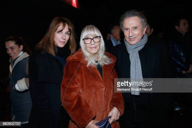 Creator of the decor of the piece Stefanie Jarre her mother Dany Saval and Michel Drucker attend the 'Hotel des deux mondes' Theater Play at Theatre...