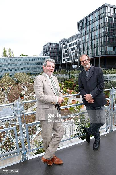 Creator of the Ephemere Garden Landscaper Michel Pena and Creator of the 'Anamorphose' Anamorphosis Francois Abelanet attend the 'Jardins d'Orient'...