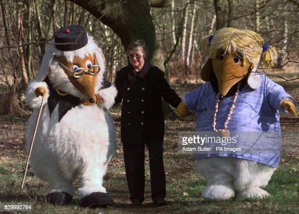Creator of the Wombles Elisabeth Beresford walks with Uncle Bulgaria and new girl Womble Alderney in the woods of Wimbledon common this afternoon A...