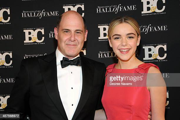 Creator of TV show 'Mad Men' Matthew Weiner and actress Kiernan Shipka attend the 24th Annual Broadcasting Cable Hall Of Fame Awards at The Waldorf...